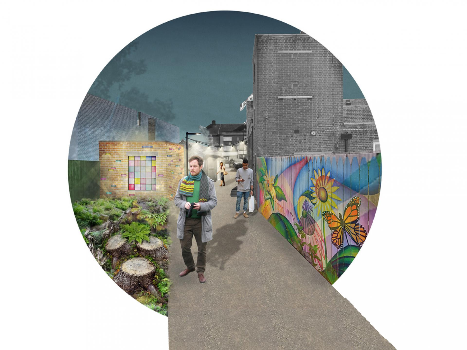 Indicative visualisation - north end of alley