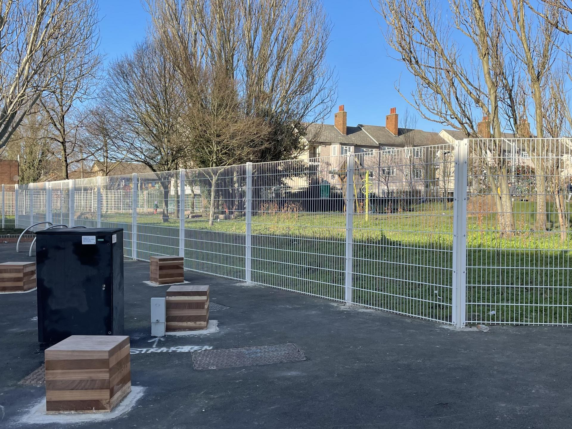 New fence and seating area, January 2021